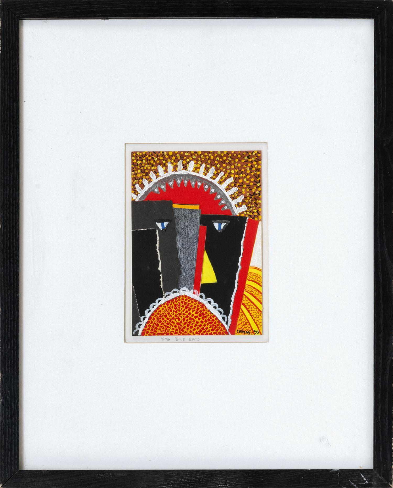 """PETER ANTHONY CHINNI, New York, b. 1928, """"King Blue Eyes""""., Mixed media collage, 7.5"""" x 5.5"""". Framed 19"""" x 15""""."""