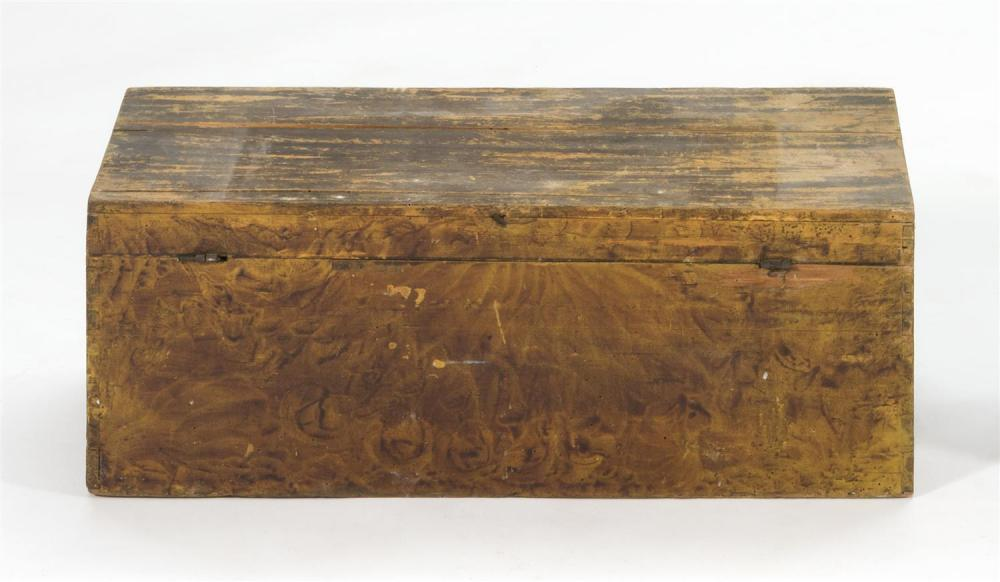 LIFT-TOP BOX Under yellow paint with brown sponge-painted decoration. Iron hardware. Dovetail construction. Height 10.75