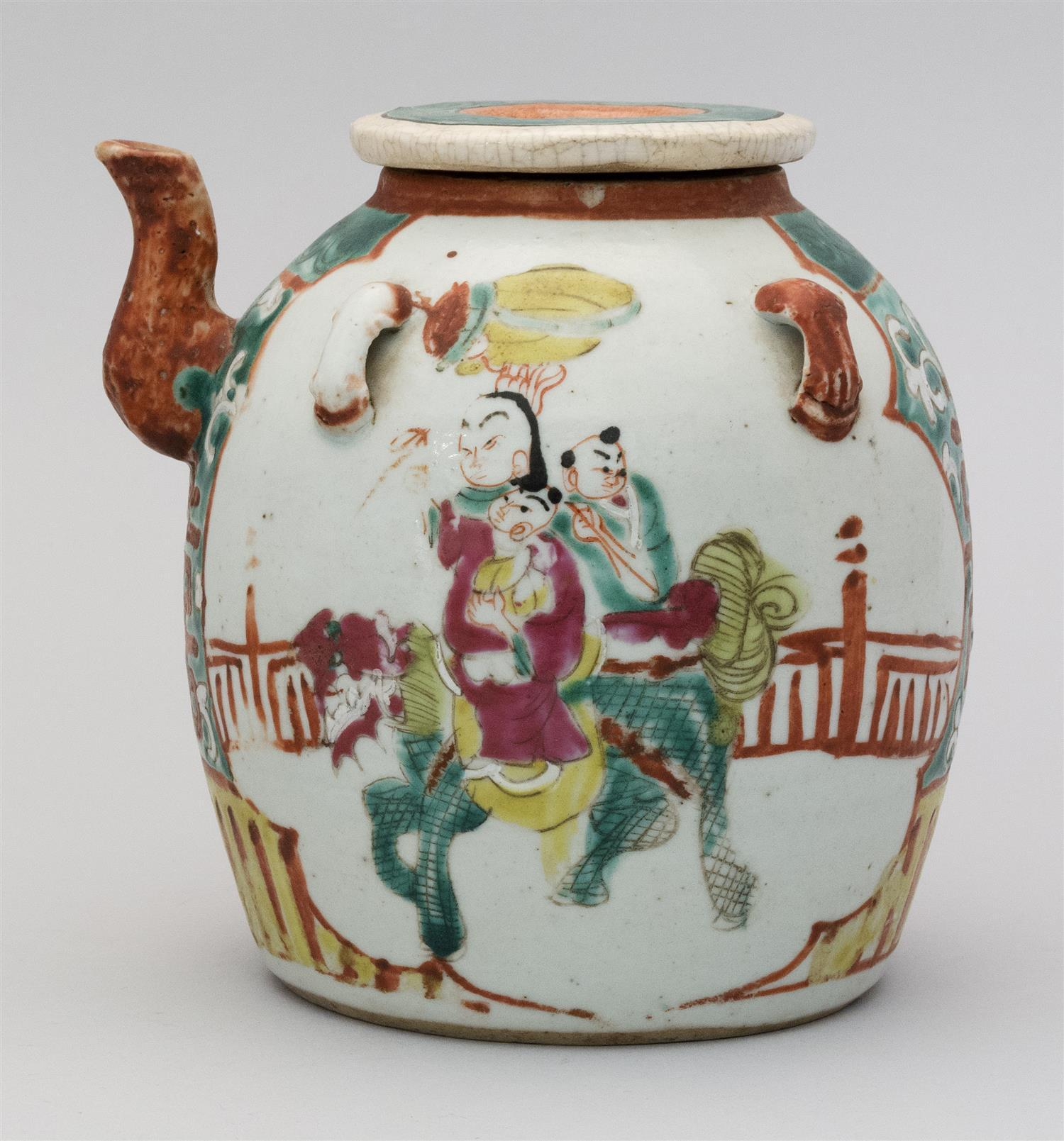 "CHINESE POLYCHROME PORCELAIN TEAPOT Figural and qilin decoration. Height 6""."