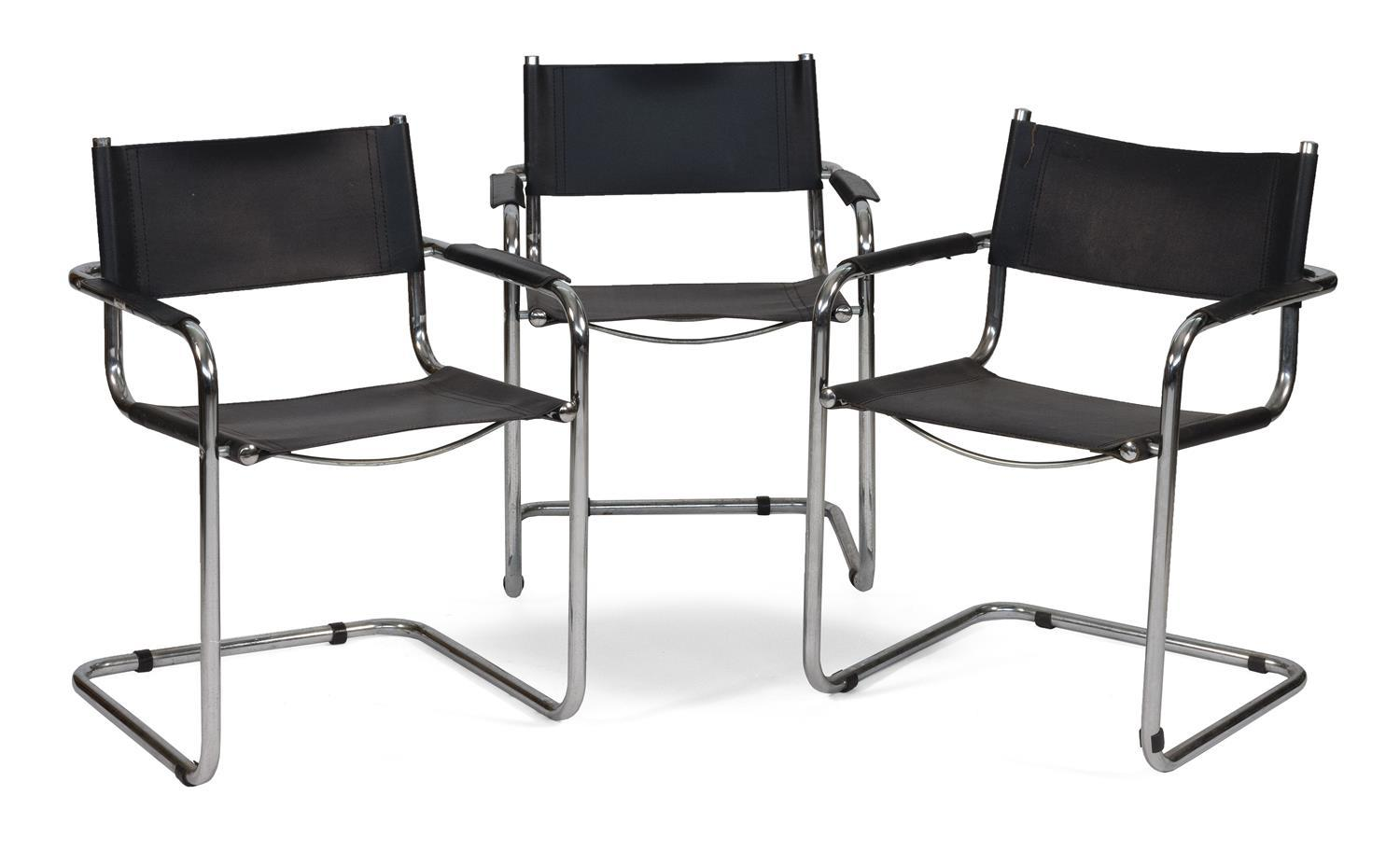 "THREE ITALIAN MODERNIST CHROME AND VEGAN LEATHER ARMCHAIRS With black sling backs, seats and padded arm rests. Labeled ""Made in Ital..."
