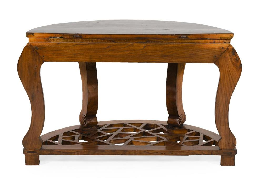 CHINESE DEMILUNE CONSOLE TABLE Shaped apron with raised foliate carving. Openwork lattice stretcher. Height 33