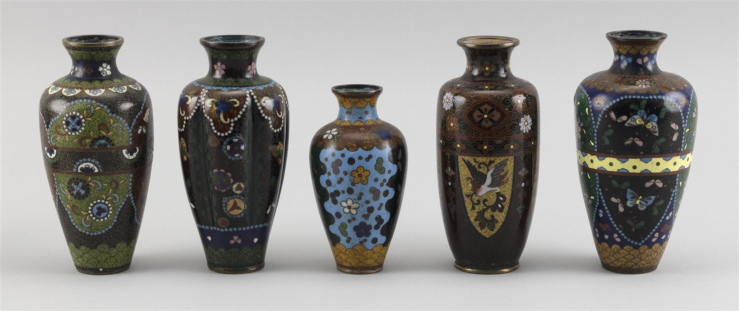 FIVE JAPANESE CLOISONNÉ ENAMEL VASES Each in baluster form with floral and bird designs and gold flecks on a brown ground. Two with...