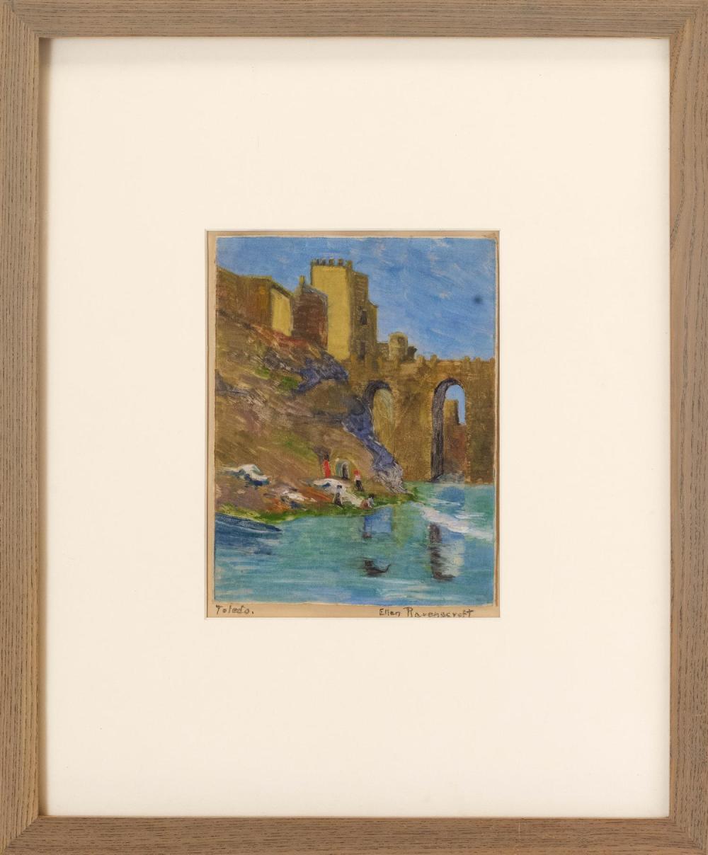 "ELLEN RAVENSCROFT, New York/Mississippi, 1876-1949, ""Toledo""., Monotype print, 9"" x 7"". Framed 21.5"" x 17.5""."