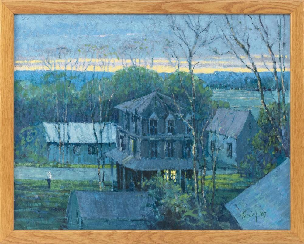 "LORETTA FEENEY, Massachusetts, b. 1961, Houses at twilight., Oil on canvas, 22"" x 28"". Framed 24"" x 30""."