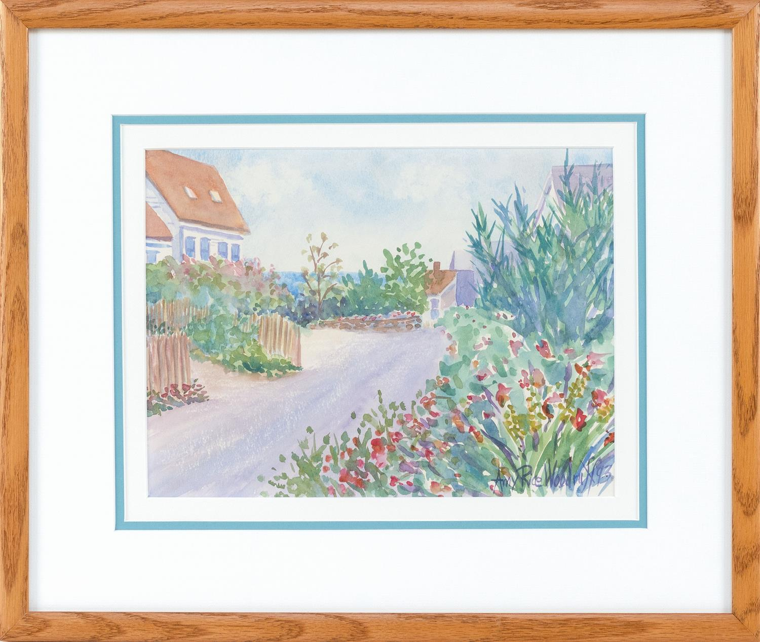 """AMY RICE WOODRUFF, Massachusetts, Contemporary, Seaside cottages., Watercolor on paper, 9"""" x 12"""" sight. Framed 17"""" x 19""""."""