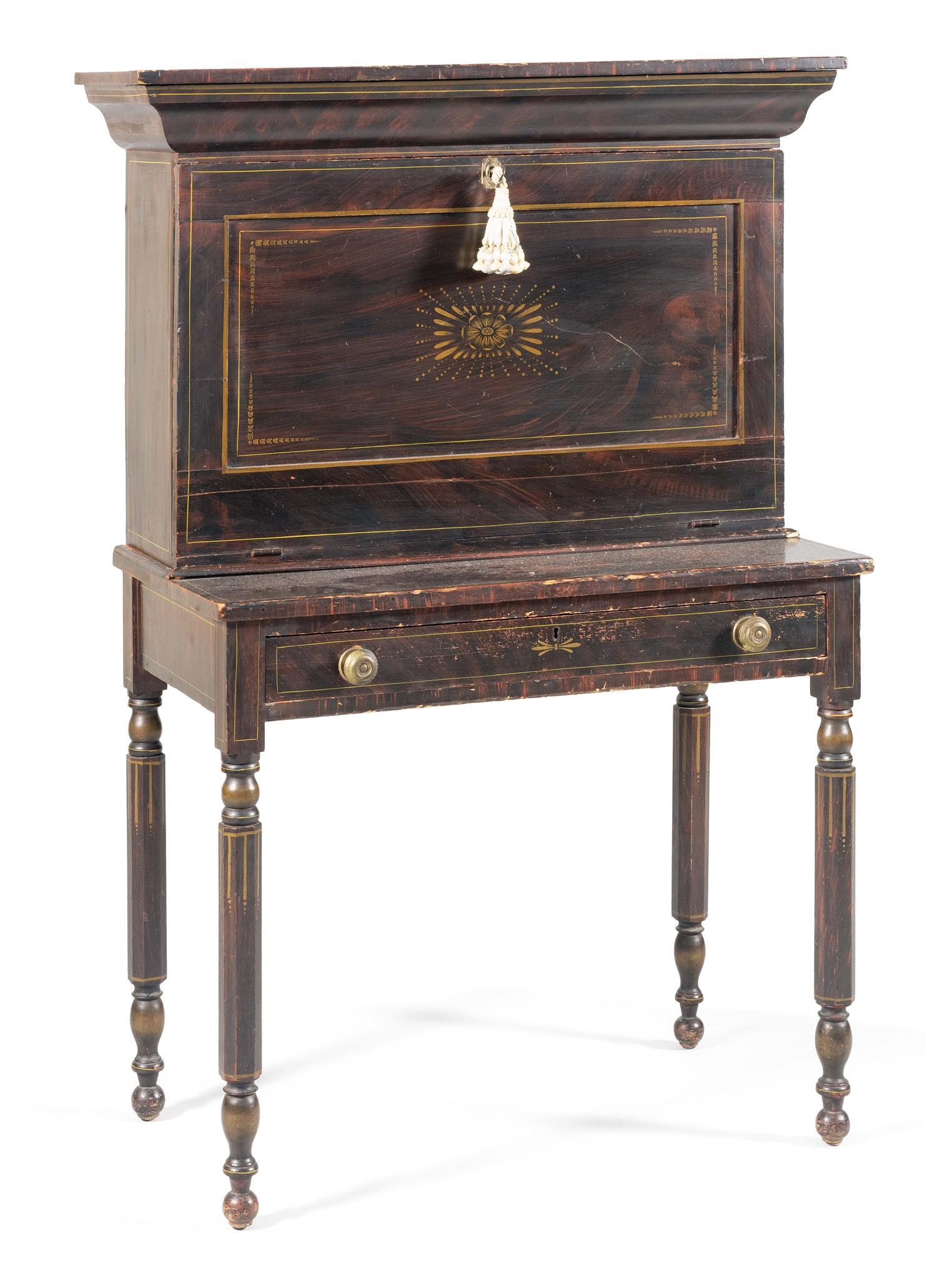 FALL-FRONT SECRETARY Original grain-painted dark brown and red surfaces. Upper case's ogee molded cornice with a top that lifts open..