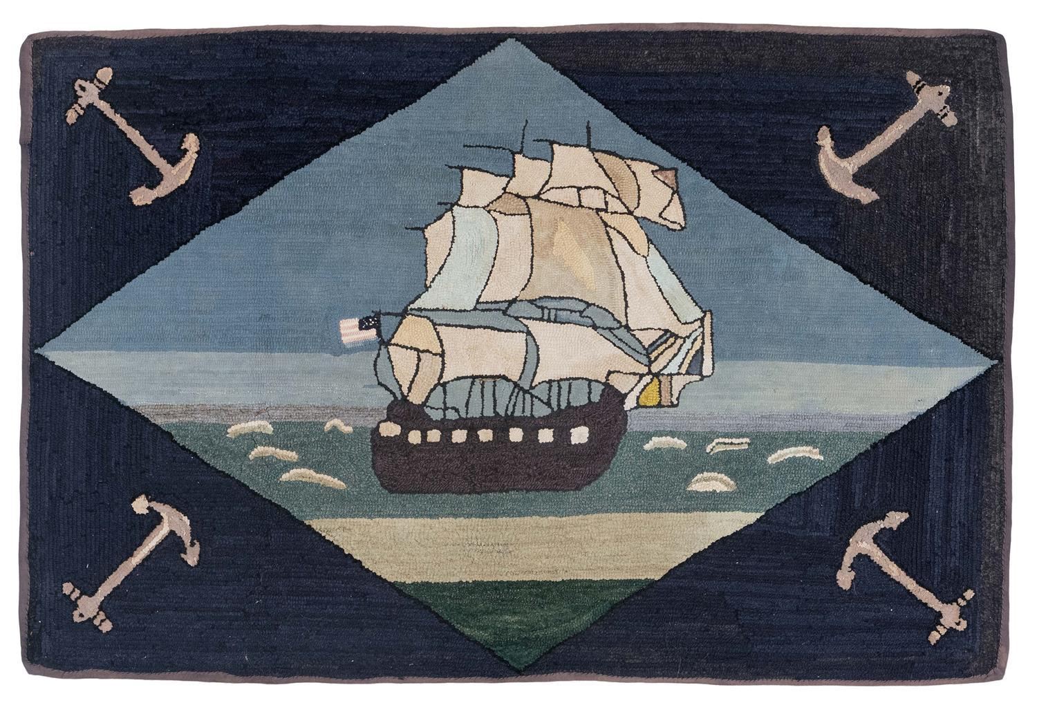 """HOOKED RUG WITH NAUTICAL SCENE 2'11"""" x 4'3"""" Depicts anchors at each corner and a central seascape with ship flying an American flag.."""