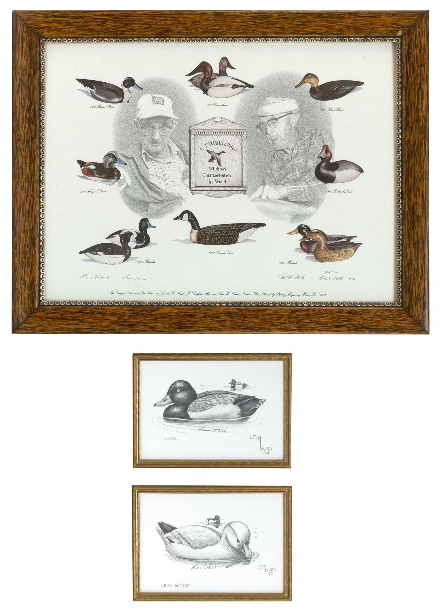 """THREE LEM WARD-RELATED ARTWORKS 1-2) Pencil drawings """"Snow Goose"""" and """"Bluebill"""". Both signed and dated in pencil lower right """"Lem W..."""