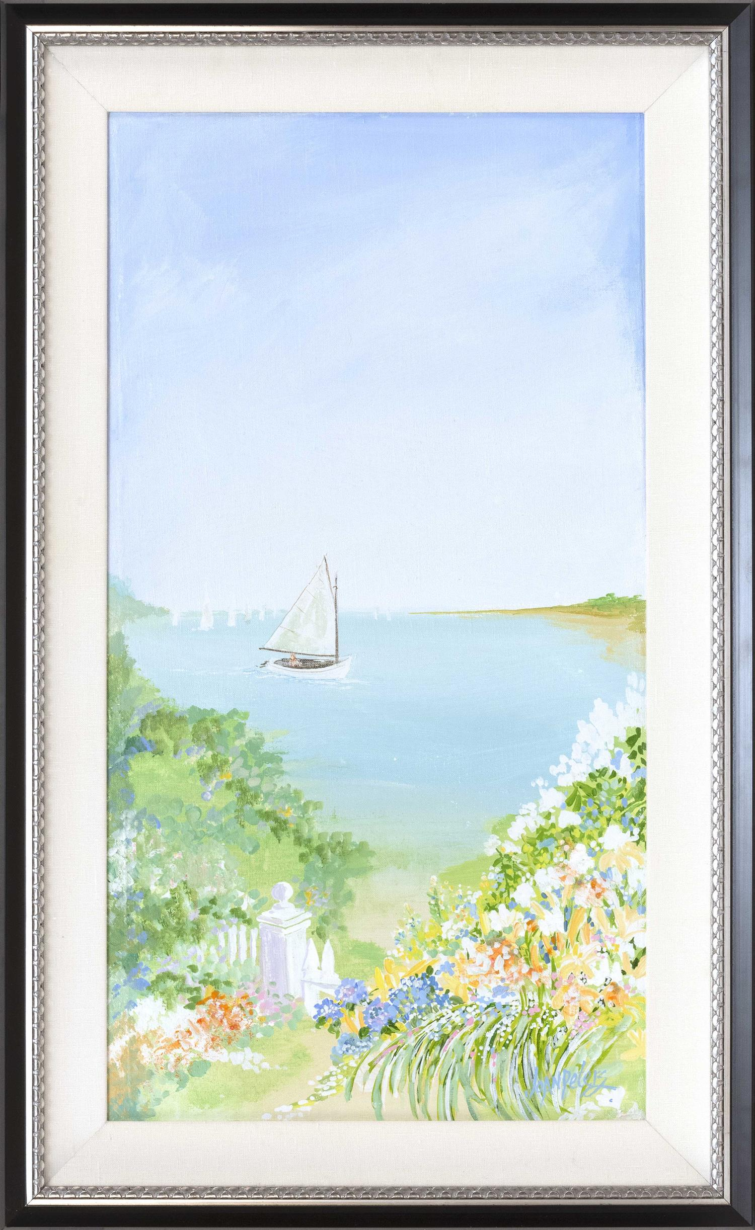 """JOAN PETERS, Cape Cod, Contemporary, """"Summer Sail in Cotuit""""., Acrylic on linen mounted on board, 27"""" x 14.5"""". Framed 32.5"""" x 20""""."""