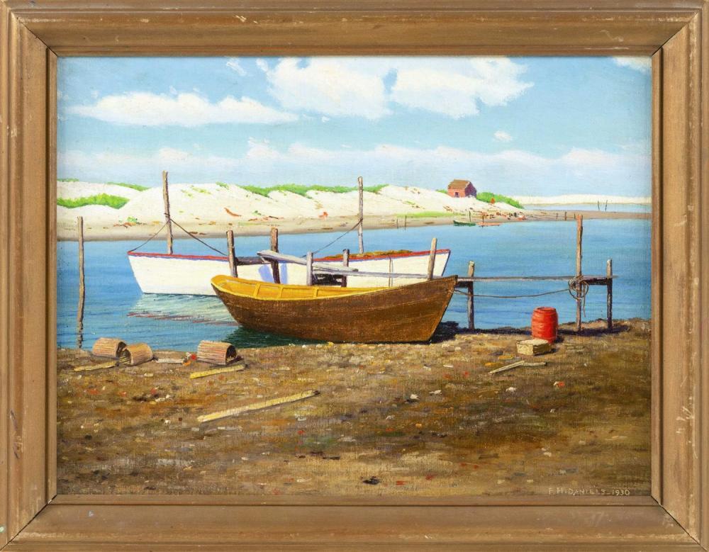FRED HAMILTON DANIELS, Massachusetts/New York, 1872-, Shore view, likely Menemsha, Martha's Vineyard, Massachusetts., Oil on board,...