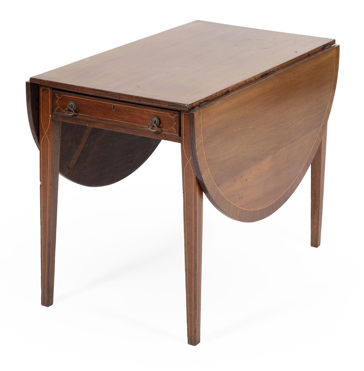 """ONE-DRAWER PEMBROKE TABLE Hardwood, made up from new and old parts. Height 28.5"""". Width 21"""" plus two 16"""" leaves. Depth 21""""."""