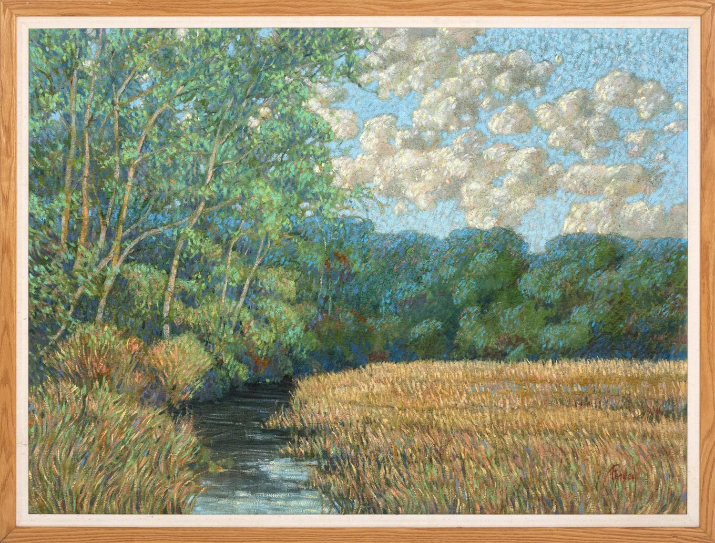 """LORETTA FEENEY, Massachusetts, b. 1961, Marsh landscape., Oil on canvas, 42"""" x 53.5"""". Framed 45"""" x 58""""."""