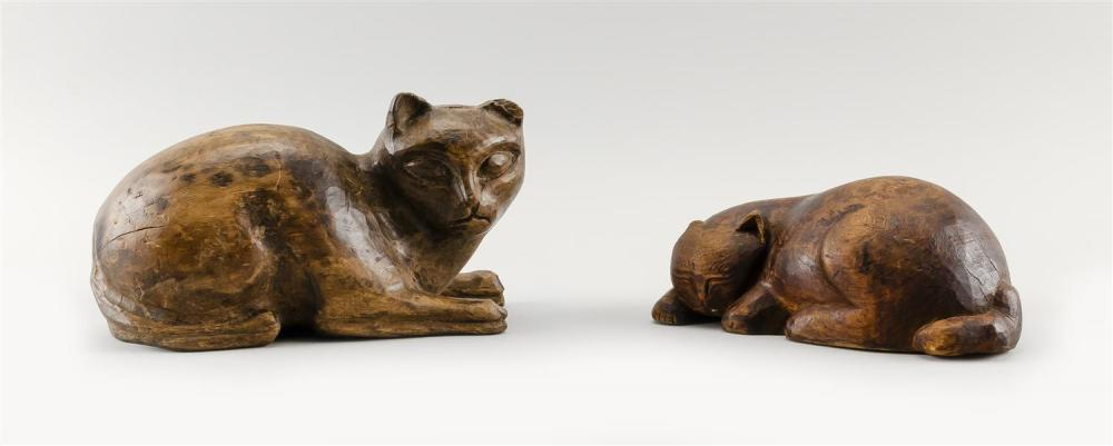 """TWO CARVED WOODEN CATS Lengths 9""""."""