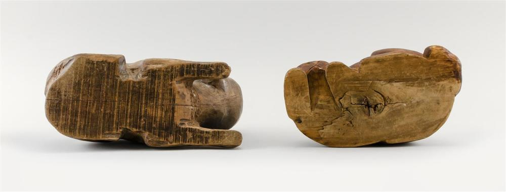 TWO CARVED WOODEN CATS Lengths 9