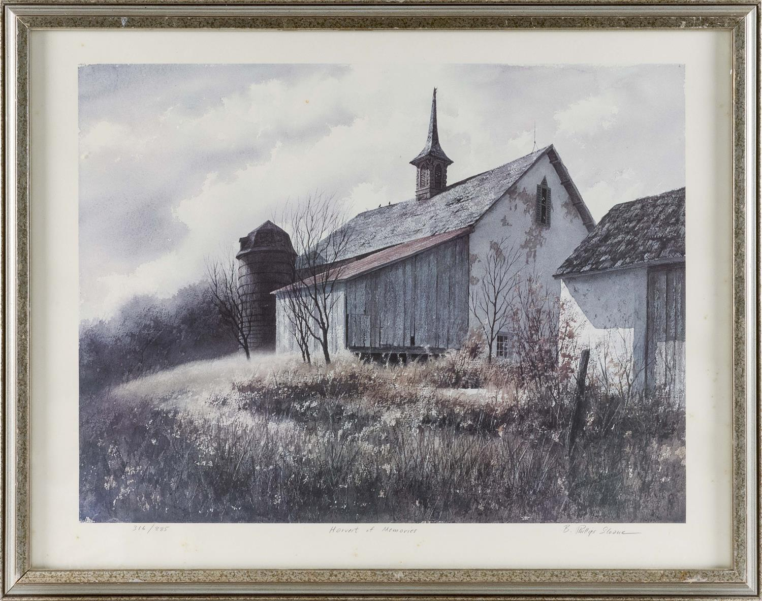 "B. PHILLIP SLOANE, America, 20th Century, ""Harvest of Memories""., Lithograph on paper, 23"" x 30"" sight. Framed 26"" x 34""."
