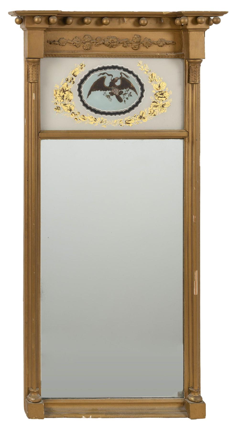 ARCHITECTURAL MIRROR Frame with acanthus leaf-molded half columns at sides. Reverse-painted upper tablet depicts a spread-wing eagle...