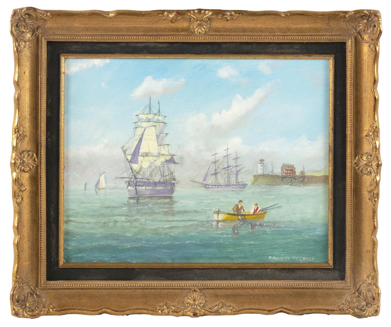 "FREDERICK TORDOFF, New Jersey/United Kingdom, b. 1939, ""Calm on the Hudson River""., Oil on panel, 12.75"" x 15.75"". Framed 15.25"" x 1..."