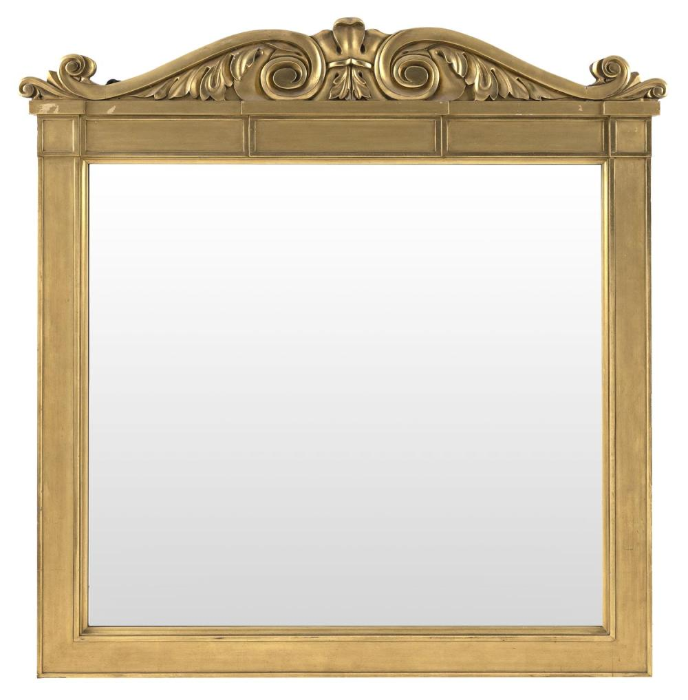 "LARGE GILT OVERMANTEL MIRROR With carved floral crest and paneled sides. Height 48"". Width 46.5""."