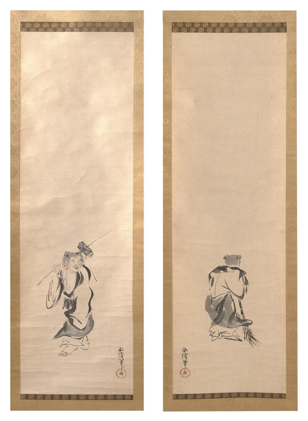"""PAIR OF JAPANESE SCROLL PAINTINGS ON PAPER Depicts Jo and Uba. Inscribed and seal marked. 39"""" x 11"""". Provenance: A private Florida C..."""