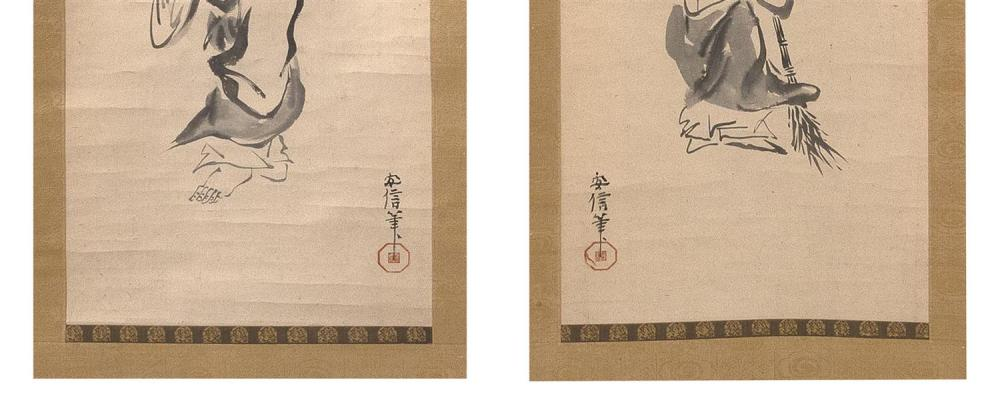 PAIR OF JAPANESE SCROLL PAINTINGS ON PAPER Depicts Jo and Uba. Inscribed and seal marked. 39