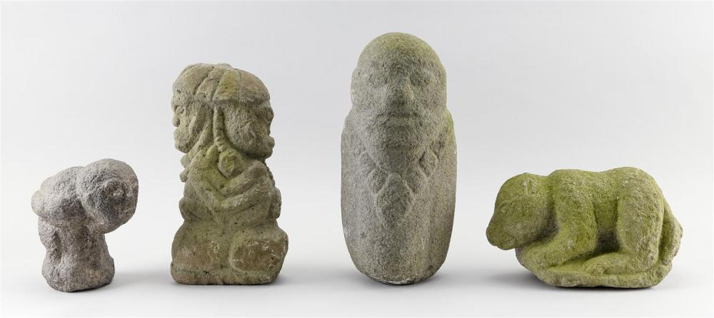 "FOUR STONE AND COMPOSITE GARDEN ORNAMENTS Three standing primitive figures, heights 7"", 10"" and 12"", and a crouching animal, height..."