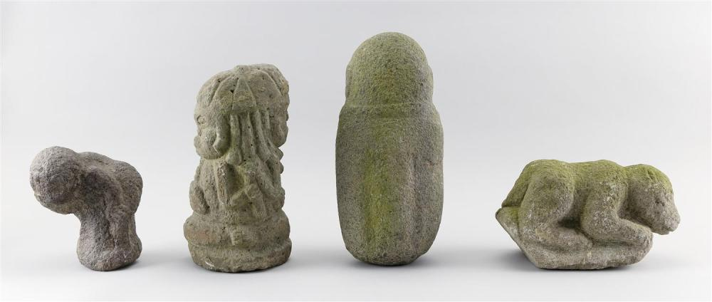 FOUR STONE AND COMPOSITE GARDEN ORNAMENTS Three standing primitive figures, heights 7