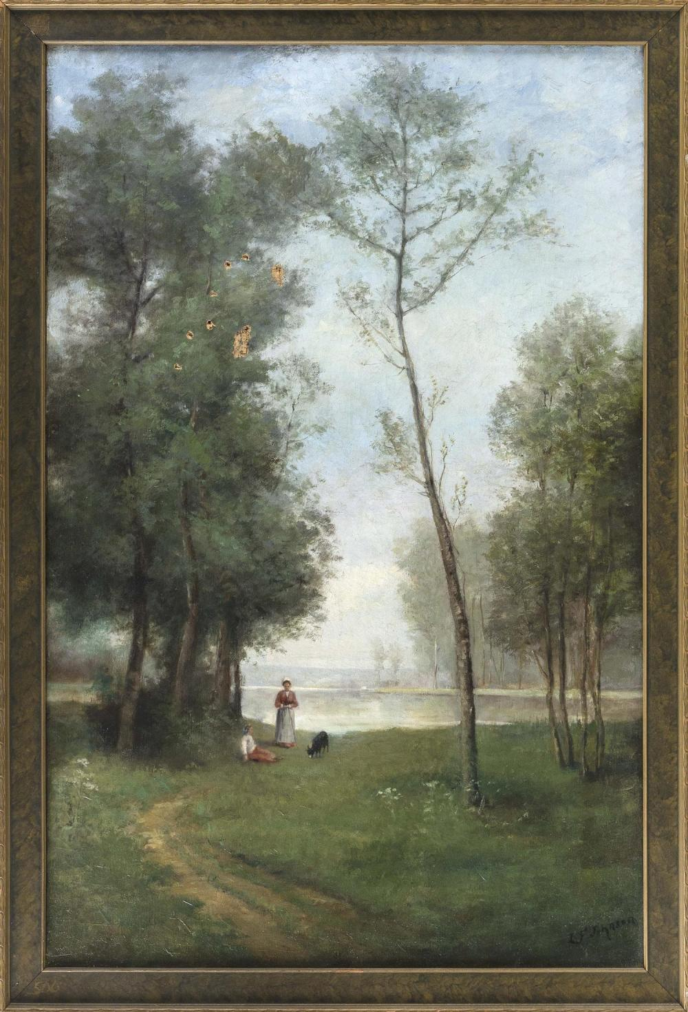 """AMERICAN SCHOOL, 19th Century, Figures by a tree-lined lake., Oil on canvas, 40"""" x 26"""". Framed 44"""" x 30""""."""