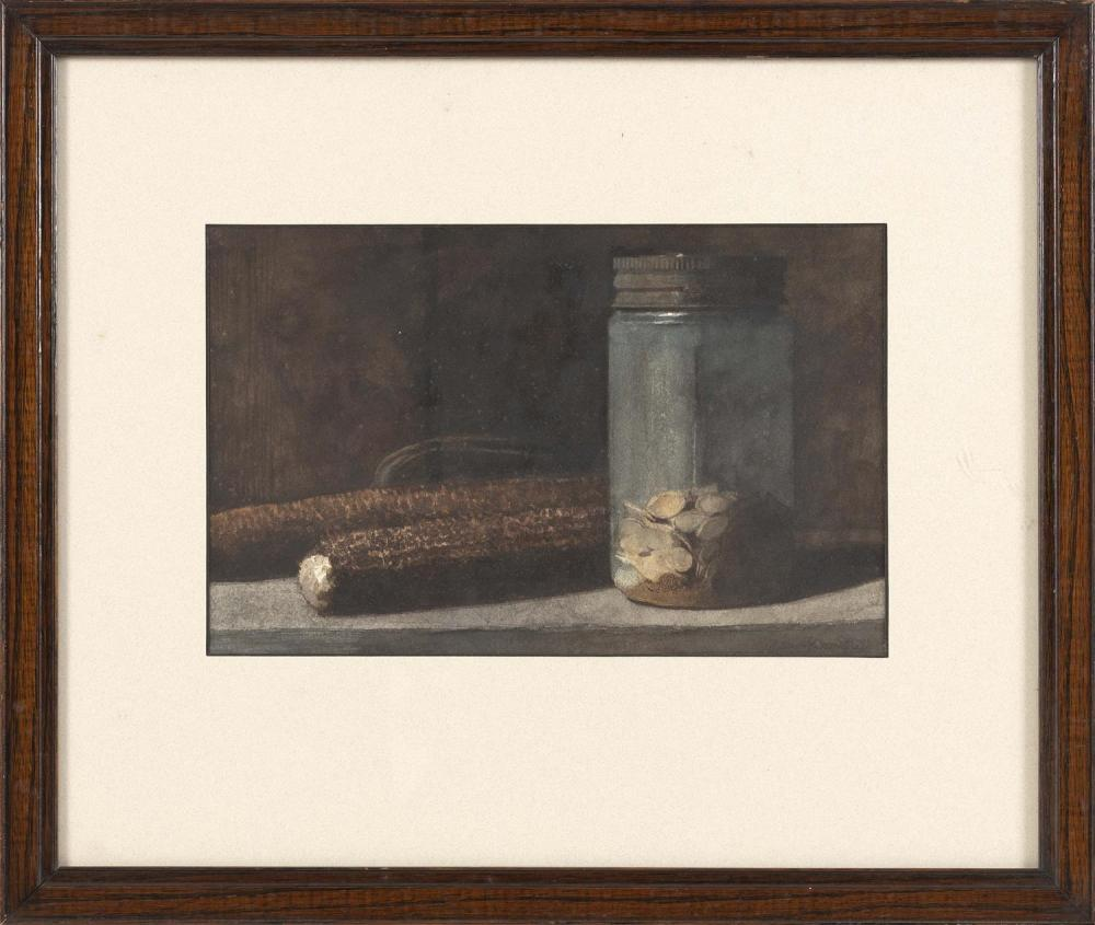 """WILLIAM HARMUTH, New Jersey, 20th Century, Still life of corncobs and a mason jar., Watercolor on paper, 7.5"""" x 11.5"""" sight. Framed..."""