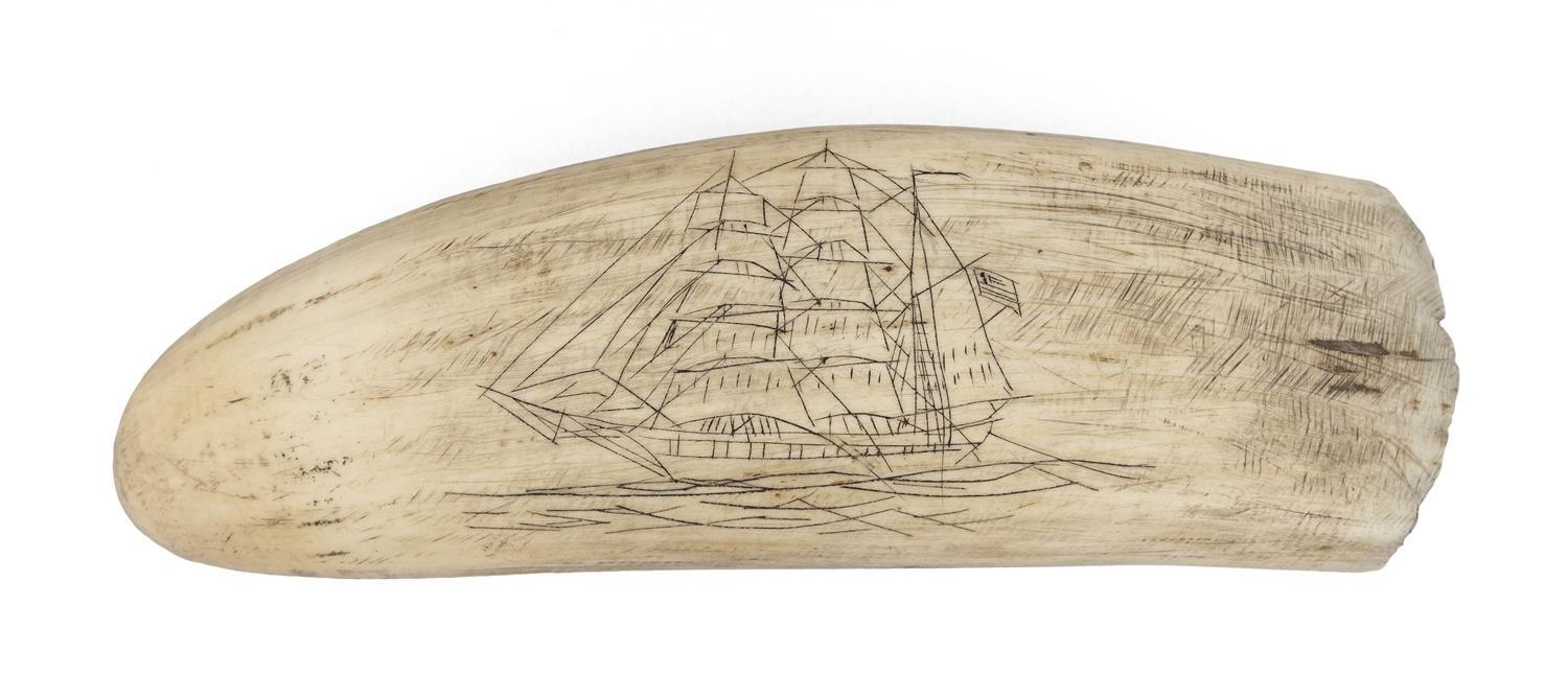 * ENGRAVED WHALE'S TOOTH Rudimentary engraving on both sides; obverse depicts a ship flying an American flag and reverse depicts a w..