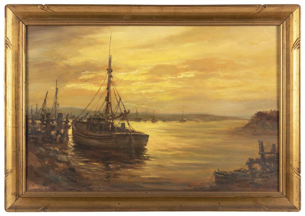 """WENDELL M. ROGERS, Massachusetts, 1890-1973, Sunset harbor., Oil on canvas, 20"""" x 30"""". Framed 24"""" x 34""""."""