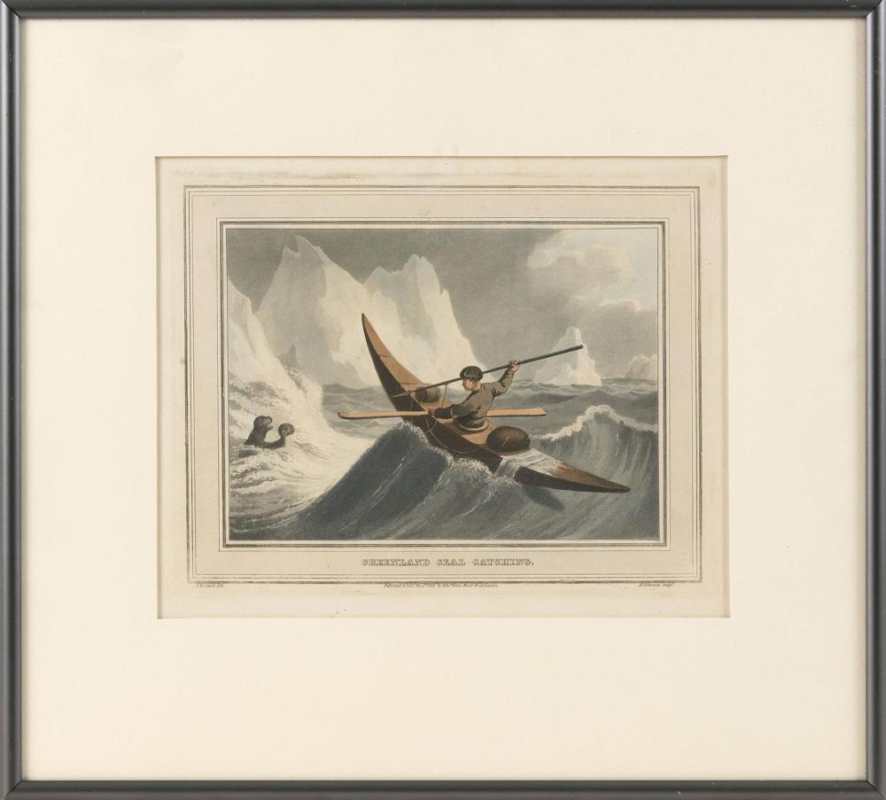 """COLORED ENGRAVING """"GREENLAND SEAL CATCHING."""" Marked """"Published and sold May 1st 1873, by Edw. Orme. Bond Street London."""". 7.5"""" x 9.5..."""