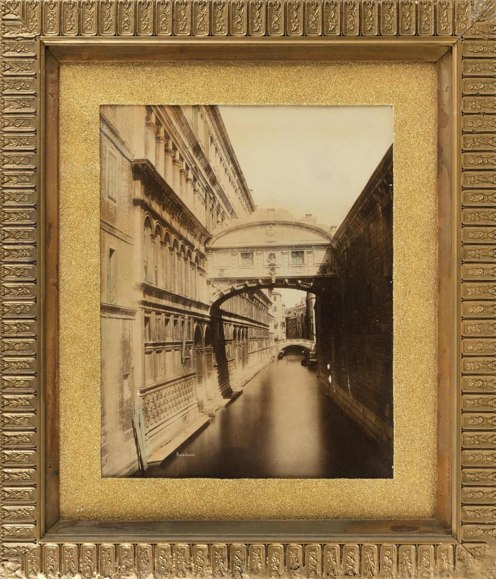 "VINTAGE BLACK AND WHITE PHOTOGRAPH OF PONTE SOSPIRI Marked ""Ponte Sospiri"" lower left. 20"" x 15.5"" sight. Framed 31"" x 27""."