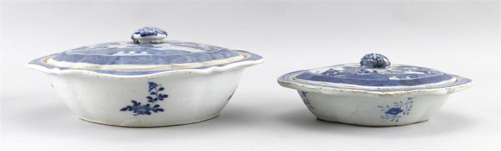 """TWO CHINESE EXPORT BLUE AND WHITE CANTON PORCELAIN VEGETABLE DISHES Lengths 8"""" and 10""""."""