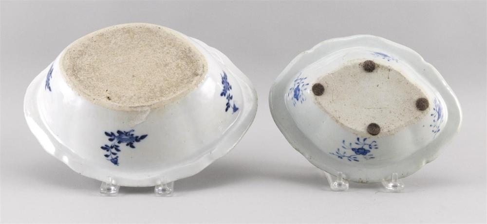 TWO CHINESE EXPORT BLUE AND WHITE CANTON PORCELAIN VEGETABLE DISHES Lengths 8