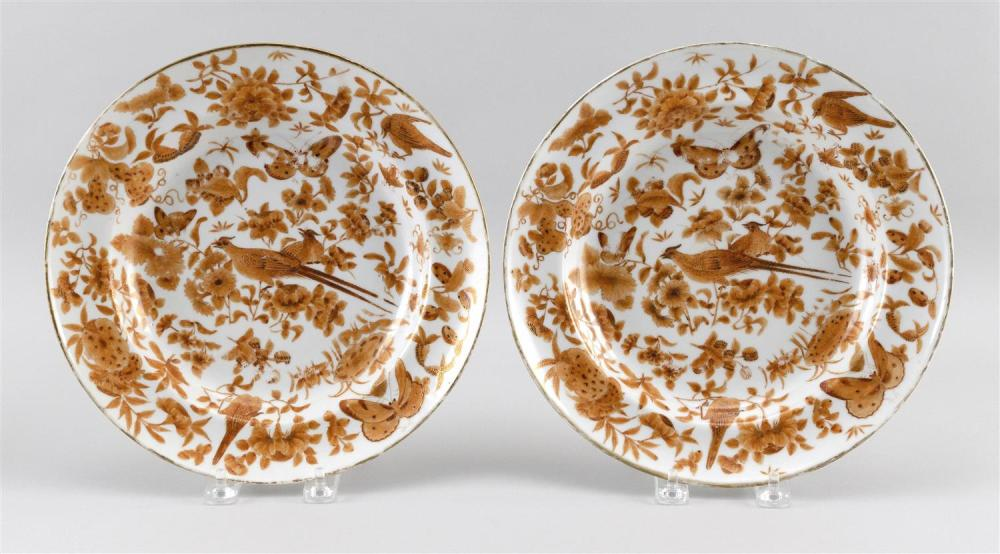 "PAIR OF CHINESE EXPORT ""SACRED BIRD AND BUTTERFLY"" PORCELAIN PLATES Diameters 10""."