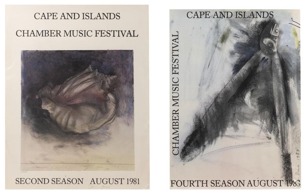 JIM DINE, New York/Ohio, b. 1935, Two posters for the Cape and Islands Chamber Music Festival, 1981 and 1983., Offset lithographs on...