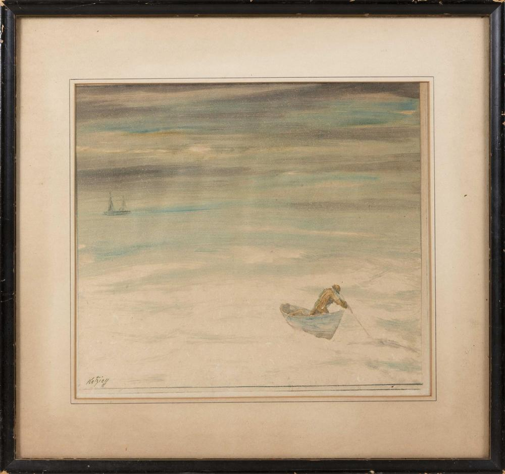 """JULIUS KATZIEFF, Massachusetts/Lithuania, 1892-1957, Fisherman in a dory., Monotype on paper, 15.5"""" x 18"""". Framed 19"""" x 22""""."""
