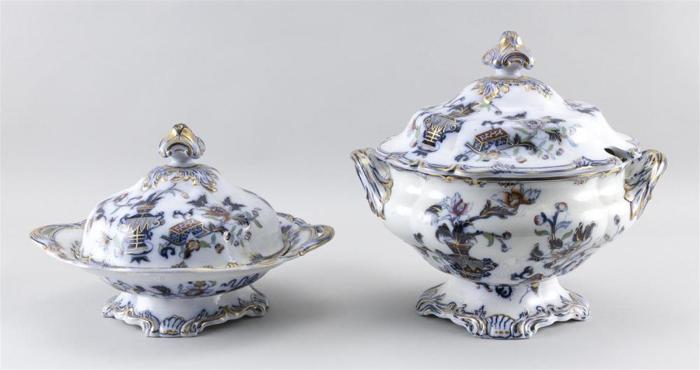 """TWO IMPERIAL STONE IMARI PALETTE IRONSTONE COVERED TUREENS A soup tureen, height 12"""", and vegetable tureen, both with vase and flora..."""
