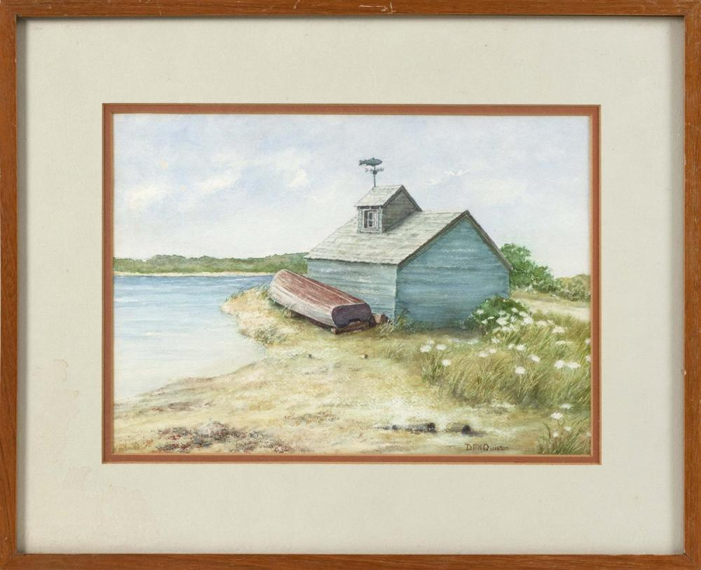 "D. MCQUISTON, Cape Cod, Contemporary, Boathouse, Bass River, Yarmouth, Massachusetts., Watercolor on paper, 10"" x 14"" sight. Framed..."