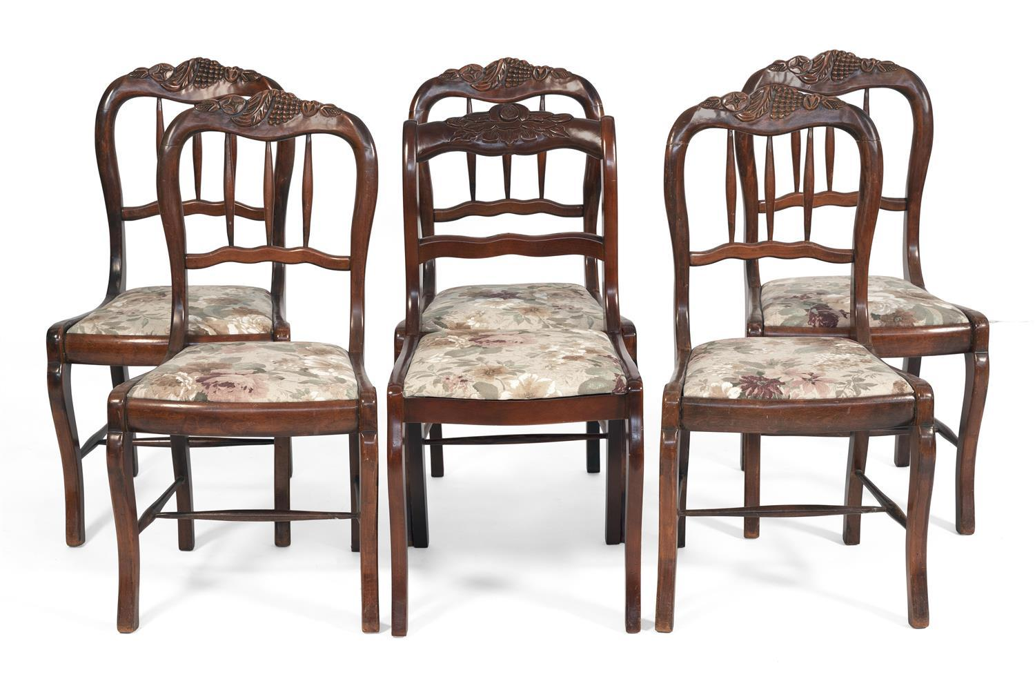 """ASSEMBLED SET OF SIX VICTORIAN-STYLE SIDE CHAIRS In walnut. Seats with floral upholstery. Back heights 34.5"""". Seat heights 17.25""""."""