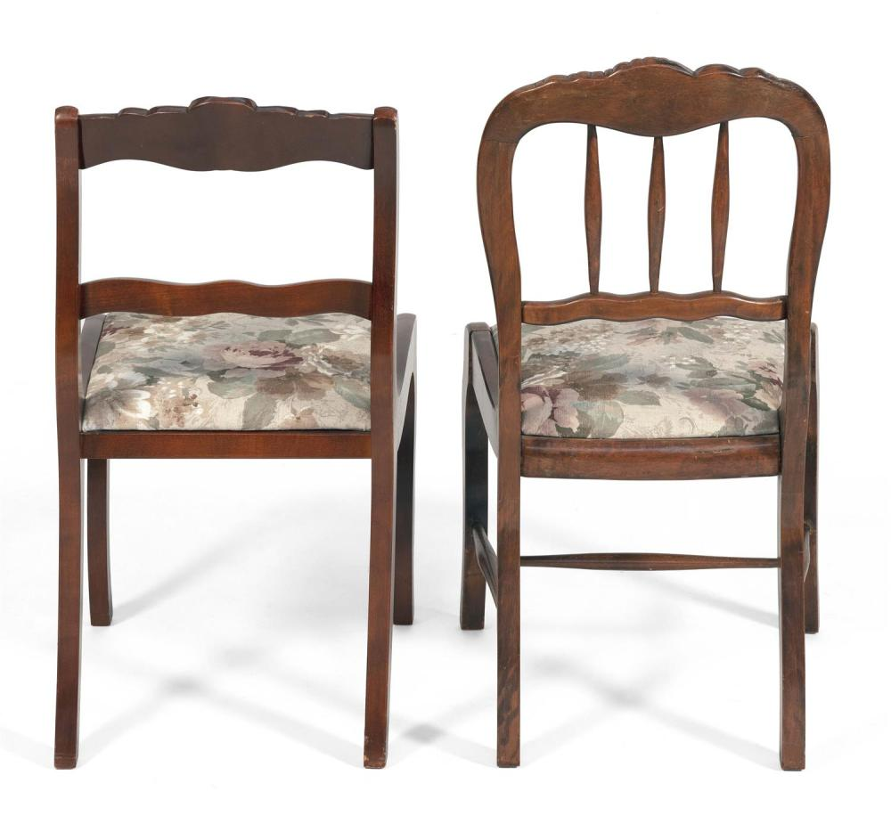 ASSEMBLED SET OF SIX VICTORIAN-STYLE SIDE CHAIRS In walnut. Seats with floral upholstery. Back heights 34.5
