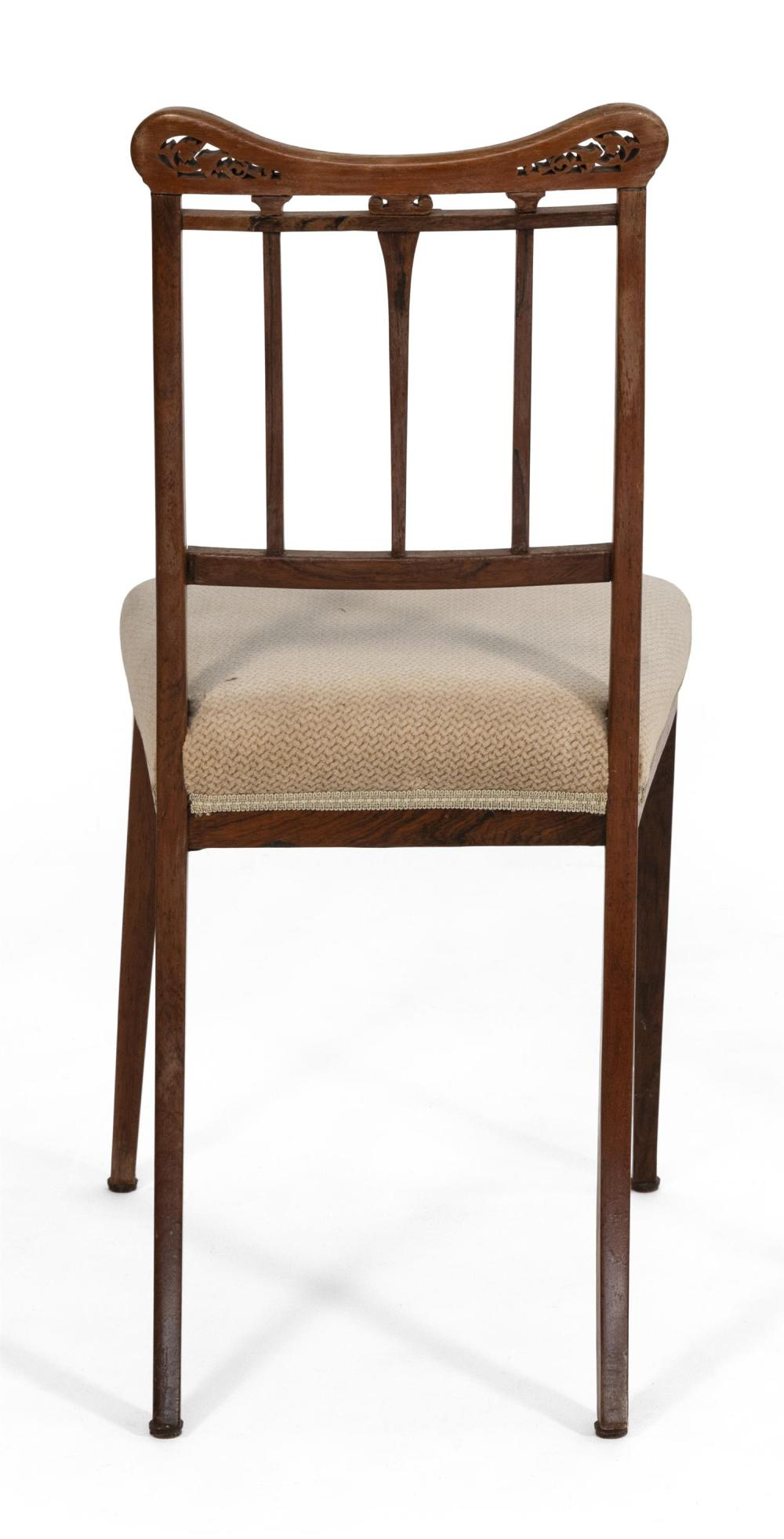 DIMINUTIVE FRENCH-STYLE SIDE CHAIR Hardwood frame with olive green upholstered seat. Relief-carved and inlaid crest rail. Tapered le...