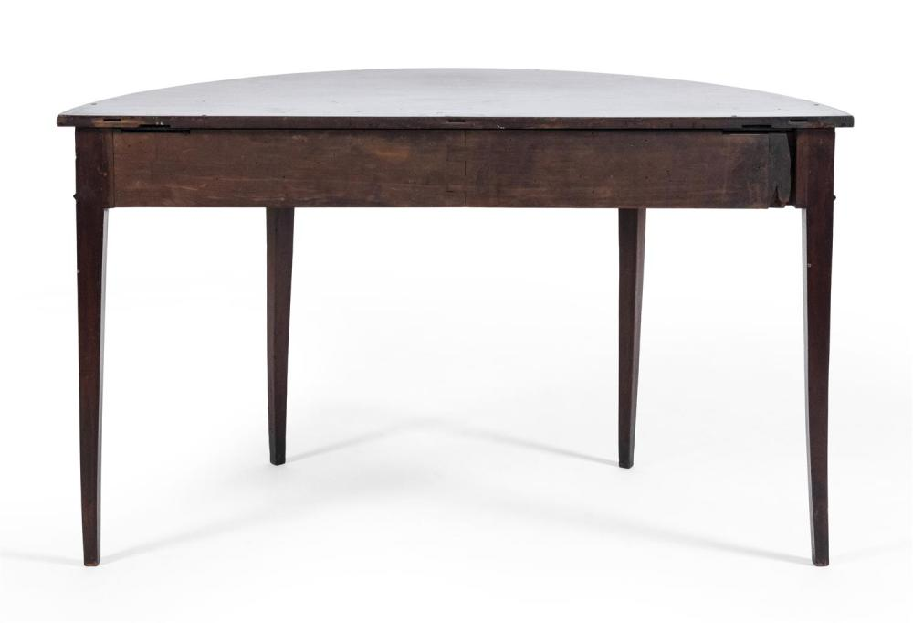 HEPPLEWHITE-STYLE DEMILUNE TABLE In mahogany. Height 28.5