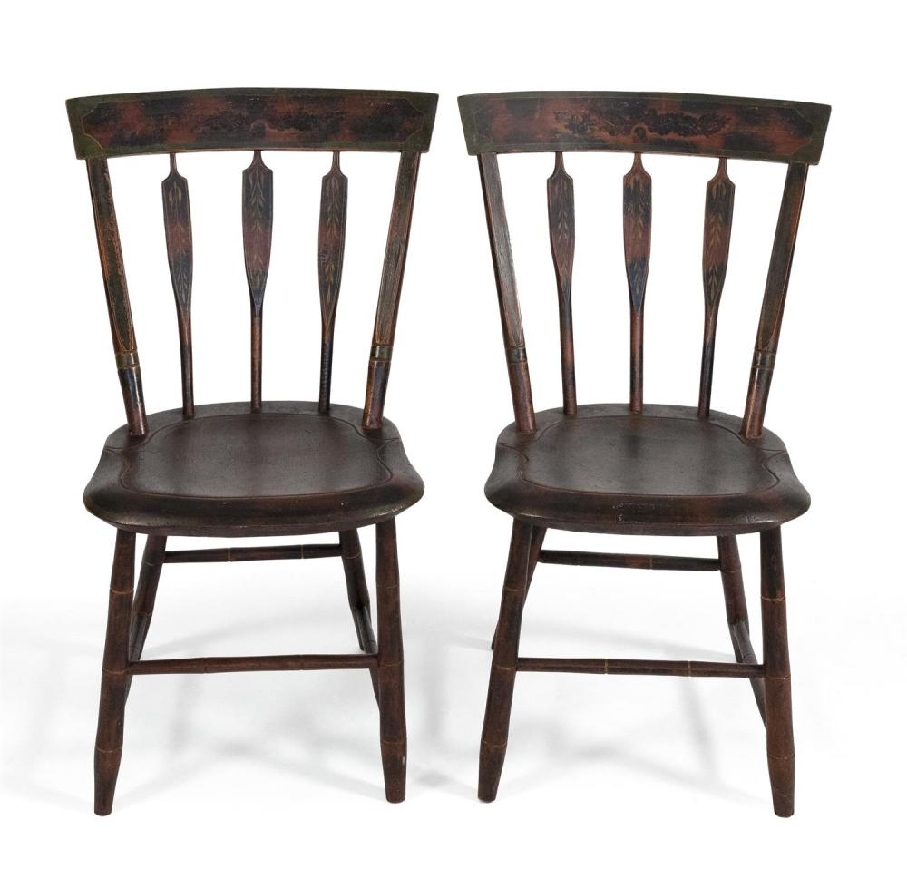 """PAIR OF THUMB-BACK SIDE CHAIRS With original grain-painted surfaces. Back heights 37.5"""". Seat heights 16.5""""."""