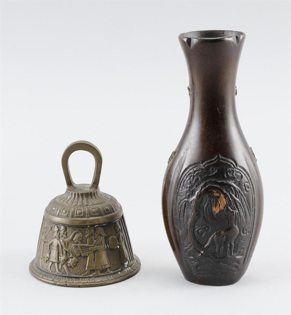 TWO SMALL BRONZE ITEMS 1) Chinese vase in slender baluster form, with raised cartouches of figures and deer in landscapes. No handle...