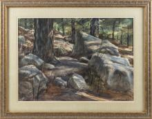"JOSEPH L.C. SANTORO, Massachusetts, 1908-1998, Rocky forest interior., Watercolor on paper, 20.5"" x 28.5"" sight. Framed 30.5"" x 38""."