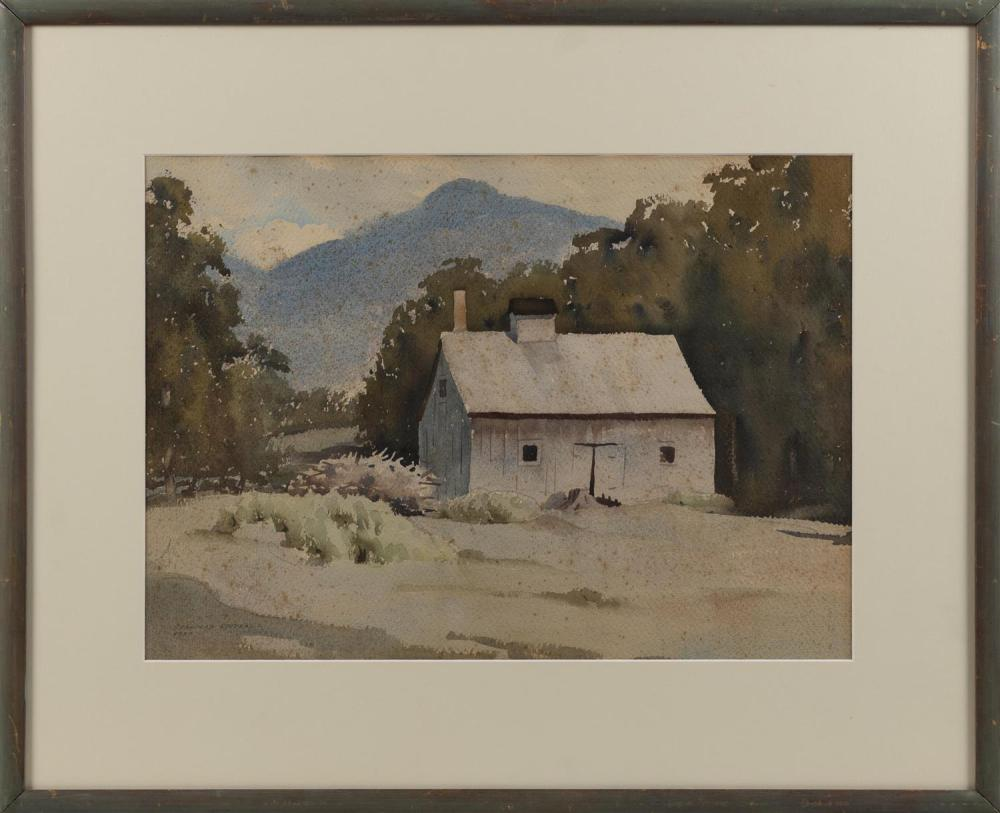 STANFORD STEVENS, Vermont/California, 1897-1974, A barn in a mountainous landscape., Watercolor on paper, 14