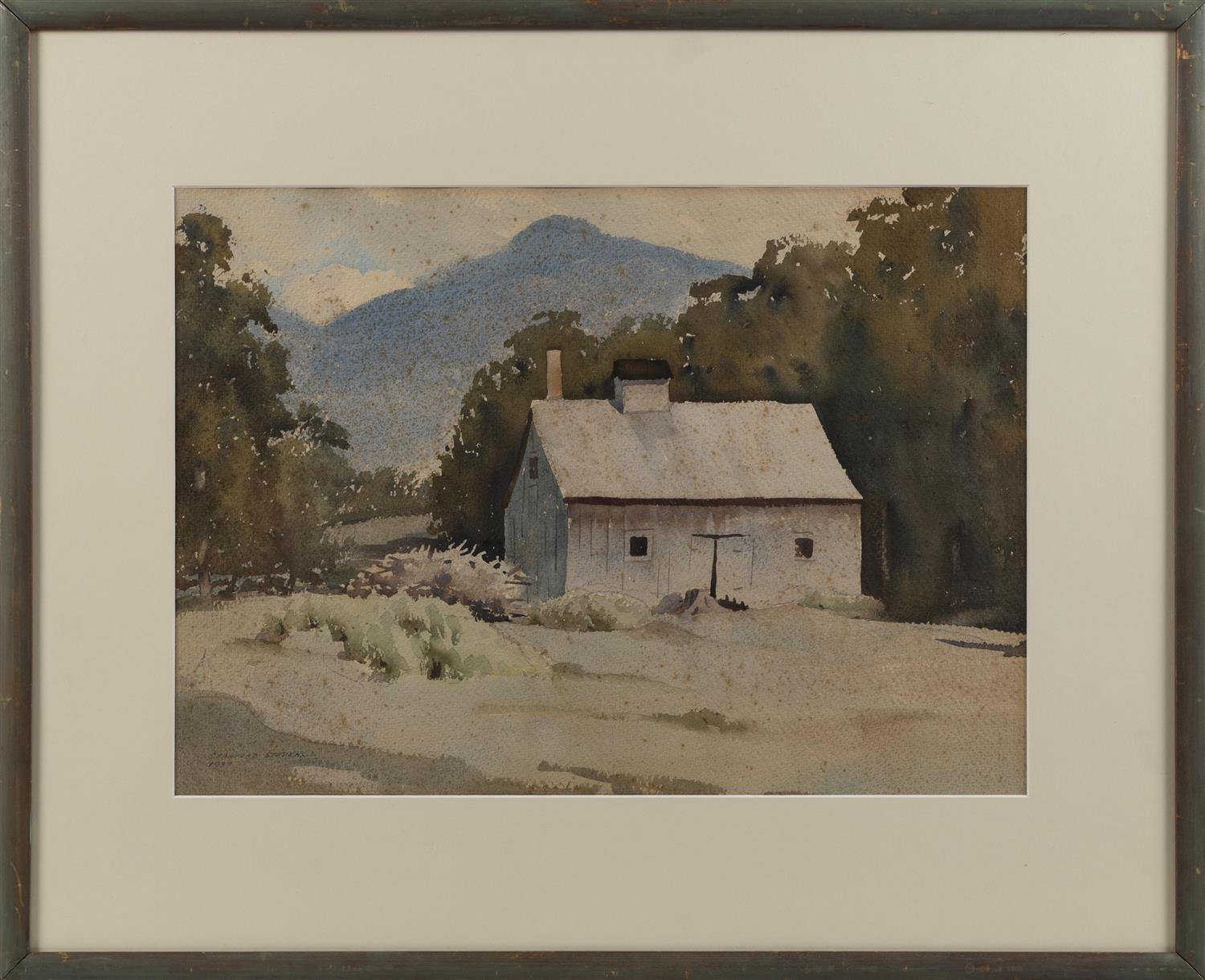 "STANFORD STEVENS, Vermont/California, 1897-1974, A barn in a mountainous landscape., Watercolor on paper, 14"" x 19.75"" sight. Framed..."