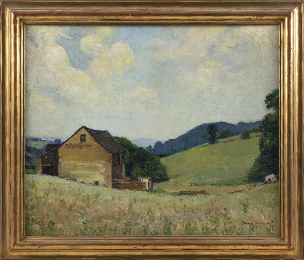 "RALPH DE BURGOS, New York/Washington, D.C., 1906-1979, ""The Old Barn""., Oil on canvas laid down on masonite, 20"" x 24"". Framed 24"" x..."