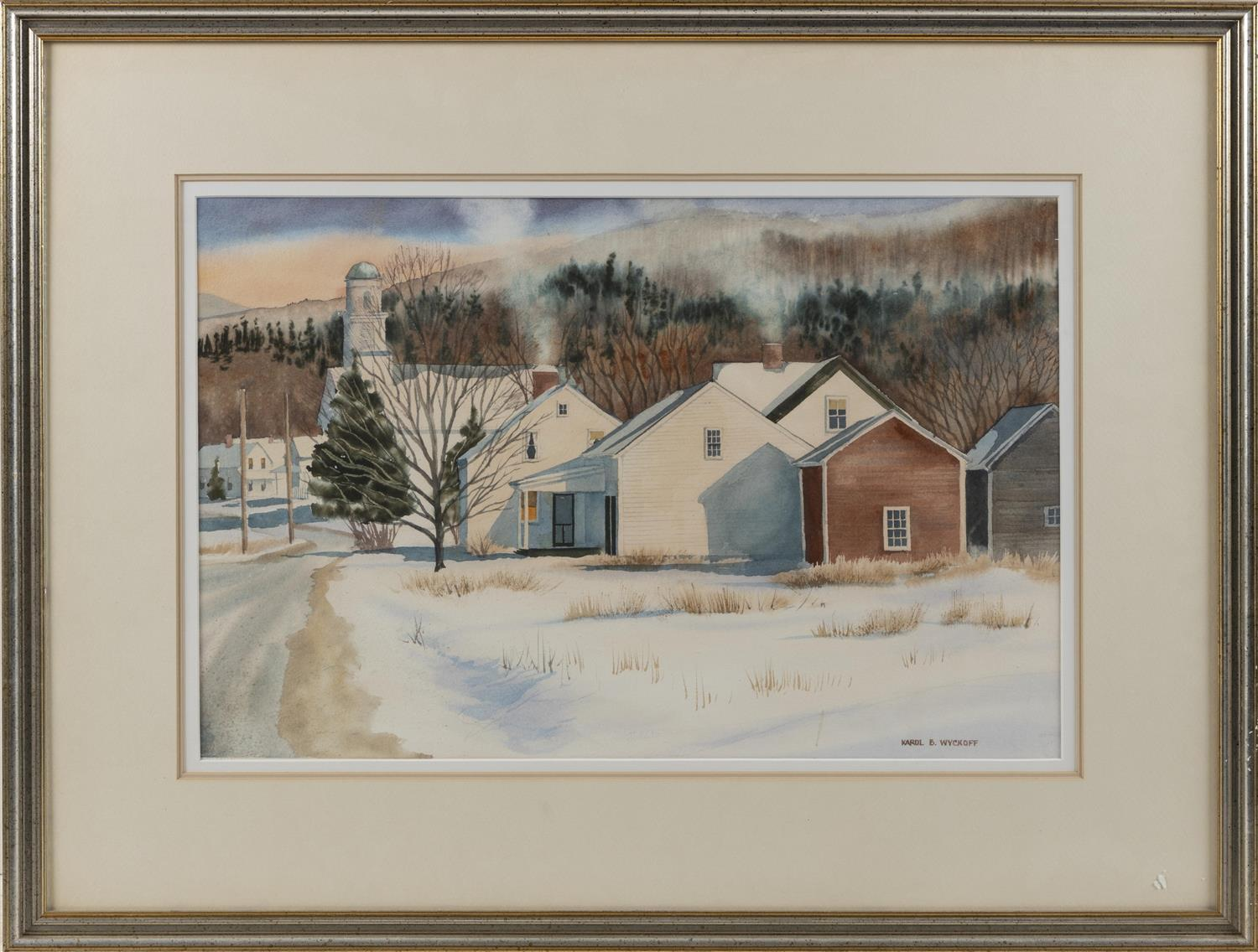 "KAROL B. WYCKOFF, Cape Cod, Massachusetts, Contemporary, A New England town in winter., Watercolor on paper, 13.75"" x 21.25"" sight...."